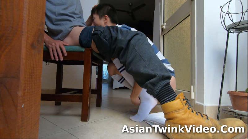 Worker Dominates Tiny Asian Soccer Boy