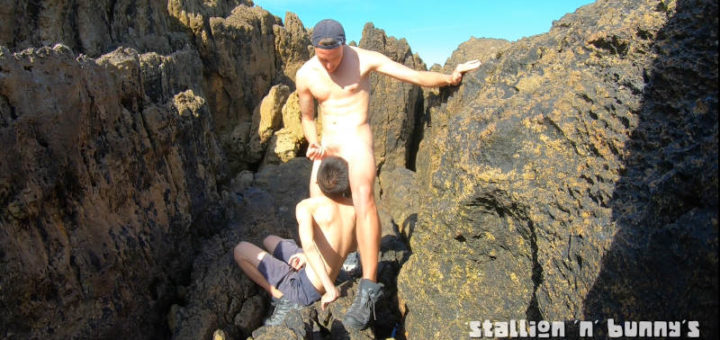 Asian & White Twink Couple Fucking Naked Outdoor On Rough & Rocky Shore
