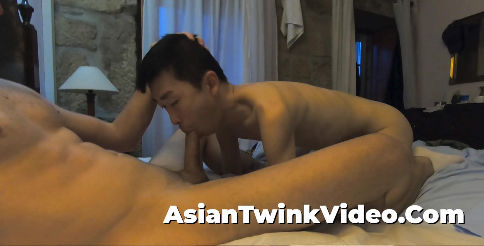 Asian Twink Playing With His White Master